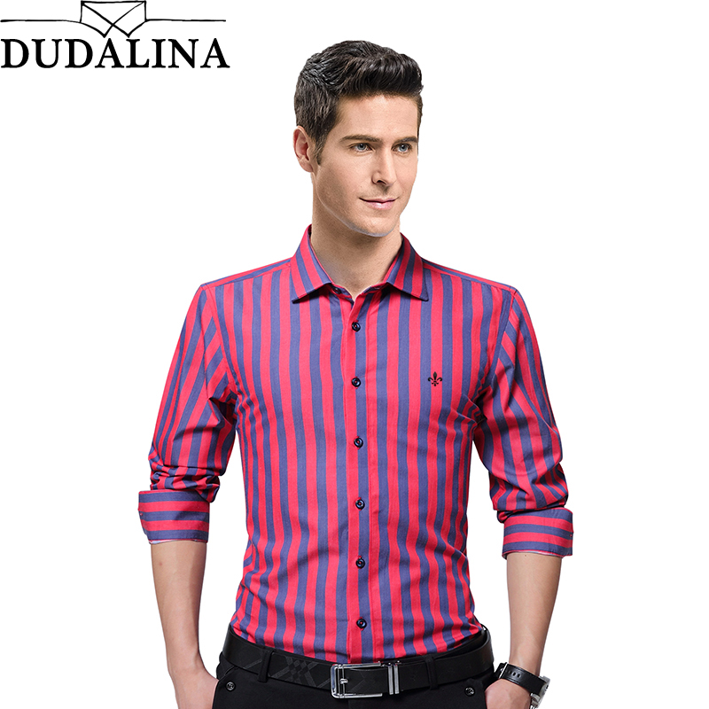 Dudalina Fashion Embroidery Striped Brand Clothing Mens Long Sleeve Shirt 2017 Slim Fit Shirt M-5XL Casual Shirt Men Clothes