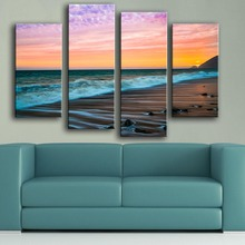 Rushed Modern Canvas New Product Print Painting Wall 4pc/set Malibu Sunset Sea Waves Art Unframed Picture For Living Room