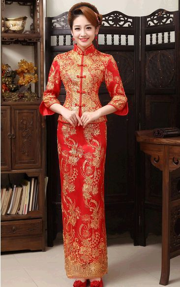 Chinese Traditional Dress 2015 Red Long Sleeve Cheongsam Bride Wedding Qipao Women Two-pieces Lace Embroidery Qi Pao