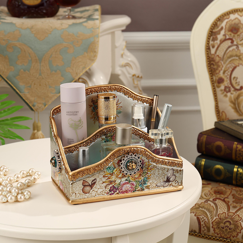 European style dressing table desktop household cosmetics storage box large size multi function remote control storage box in Storage Boxes Bins from Home Garden