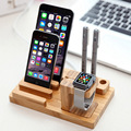 Мини Бамбука Зарядка для Док-Станции Кронштейн Колыбель Телефон Планшет Стенд держатель Для iPhone 6 6 S Plus 5 5S SE Для Apple часы