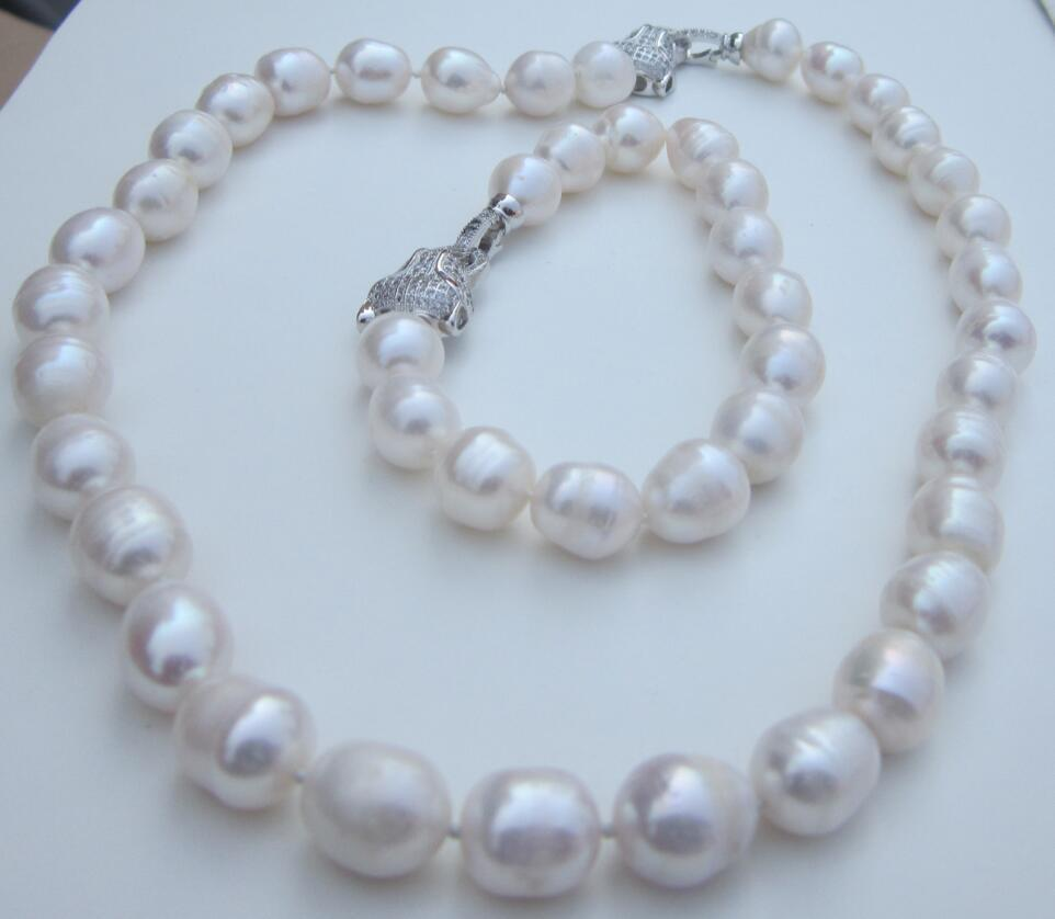 gorgeous 12-13mm south sea white pearl necklace 18 &bracelet 7.5-8gorgeous 12-13mm south sea white pearl necklace 18 &bracelet 7.5-8