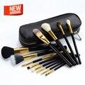 Profesional 12 Unids Cara Marca Pinceles de Maquillaje con Cremallera Bolsos de Cuero, Maquillaje cosmético Del sistema de Cepillo, Maquillaje Juego de Brochas Case