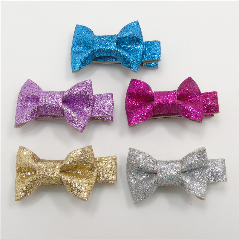 Silver Sparkle Christmas Bows childrens //Kids hair clips