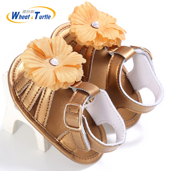2020 Summer Mother Kids Baby Shoes First Walkers Flower Decorate Buckke Strap Soft sole Pu For Newborn Infant Girls
