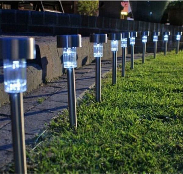 Solar LED Path Light Outdoor Garden Lawn Landscape Stainless Spot Lamp Decor