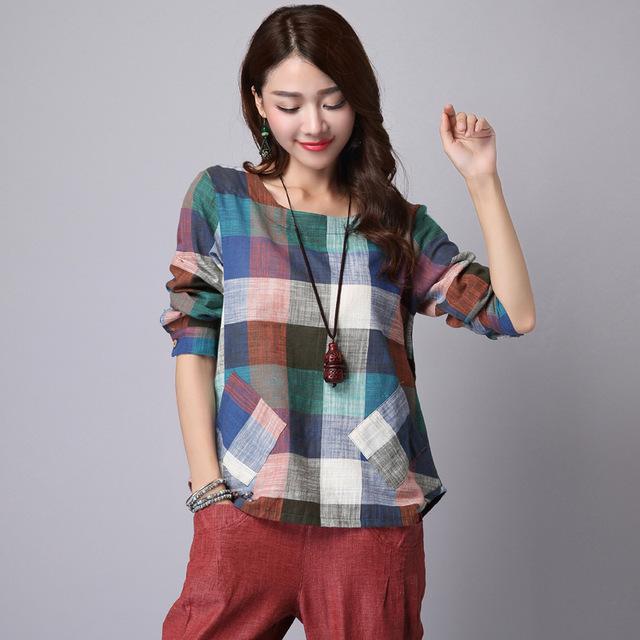 Camisas De Linho De Algodão Blusas Outono Primavera das mulheres Fêmeas Camisas Xadrez de Manga Longa Tamanho Mais Solto Encabeça Novo