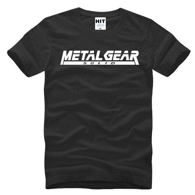 Jogo MGS Metal Gear Solid Letra Impressa Mens Dos Homens T T-shirt camisa de 2016 Nova Camiseta de Algodão de Manga Curta Tee Camisetas Masculina