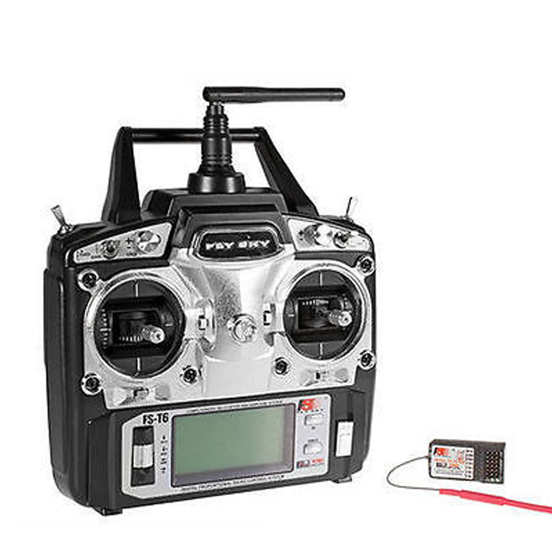 Flysky FS-T6 Radio Control 2.4G 6 Channel Transmitter+Receiver for RC Helicopter image