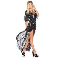Women S Hot Sale Summer Fashion Stars Print High Waist Beach Holiday Dress Split Batwing Sleeve
