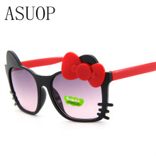 ASUOP retro classic cat face sunglasses men and women children glasses brand design round cat eye high grade UV400 sunglasses
