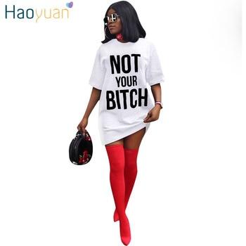HAOYUAN grande taille T Shirt Robe Vestidos à manches courtes Robe Sexy robes noir blanc rouge bleu décontracté lâche vêtements femmes Robe