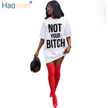 HAOYUAN Plus Size T Shirt Dress Vestidos Short Sleeve Robe Sexy Dresses Black White Red Blue Casual Loose Clothes Women Dress