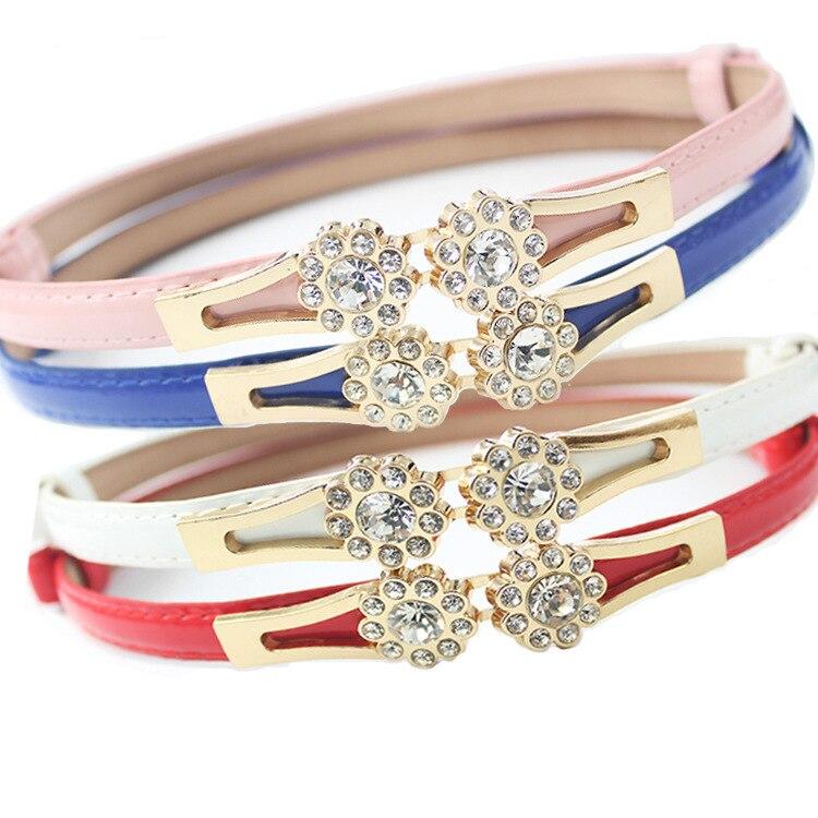 Korean Version Flower Point Diamond Buckle Adjustable Small Waist Belt Dress Decorative Belt Fashion Simple Skirt Harajuku