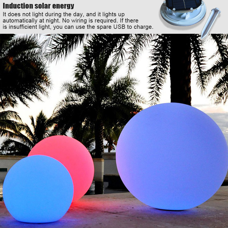 Solar LED Light Ball Cordless Night Lights With Remote Control Rechargeable Pool Floating Orb MAL999