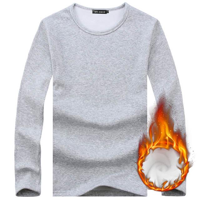 Male Underwear Shirt O-Neck Winter Bodysuit Mens Warm Thermal Undershirts Plus Velvet Basic Tops Man Cotton Undershirt Tshirt