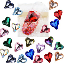 Pandahall 10pcs Crystal Nail Art Rhinestones Heart Glass Stones Cabochons DIY Manicure Decorations Gems