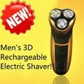 2017 Novos homens 3D Recarregável Lavável Cordless Rotary Barbeador Elétrico Navalha de Barbear Barbeadores Elétricos para Os Homens de Luxo