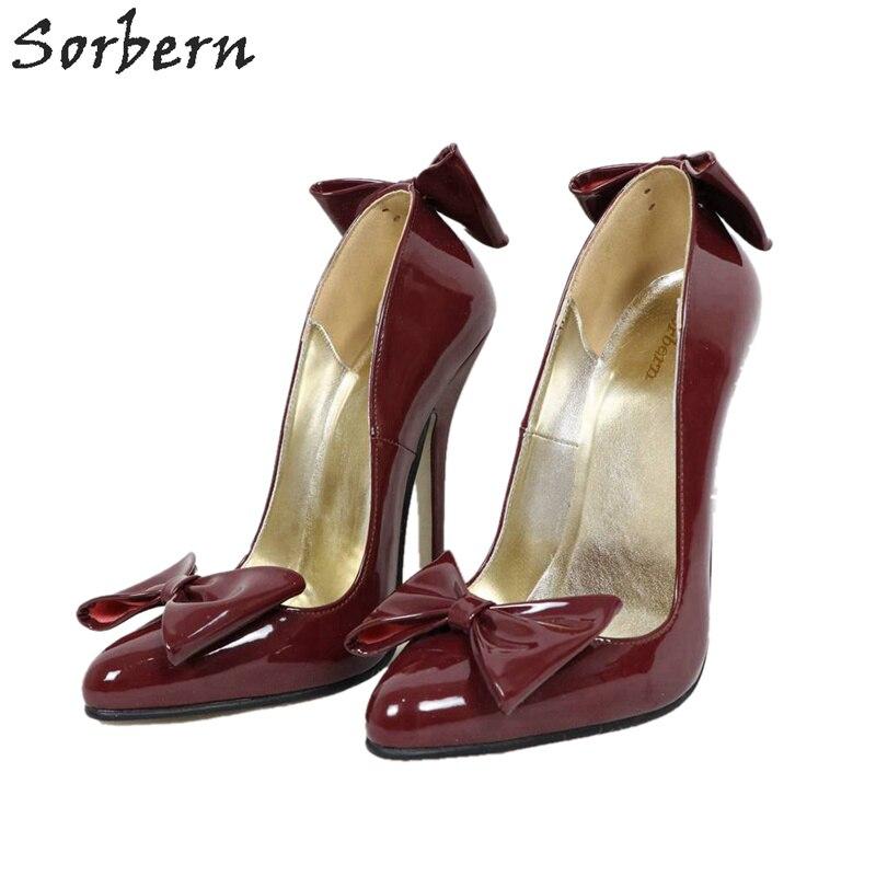 Sorbern vin rouge 14 Cm/16 Cm talons femmes pompe Bow sans lacet chaussure dames talon taille 12 talons 2019 nouvelles pompes pour femmes talons pour femmes