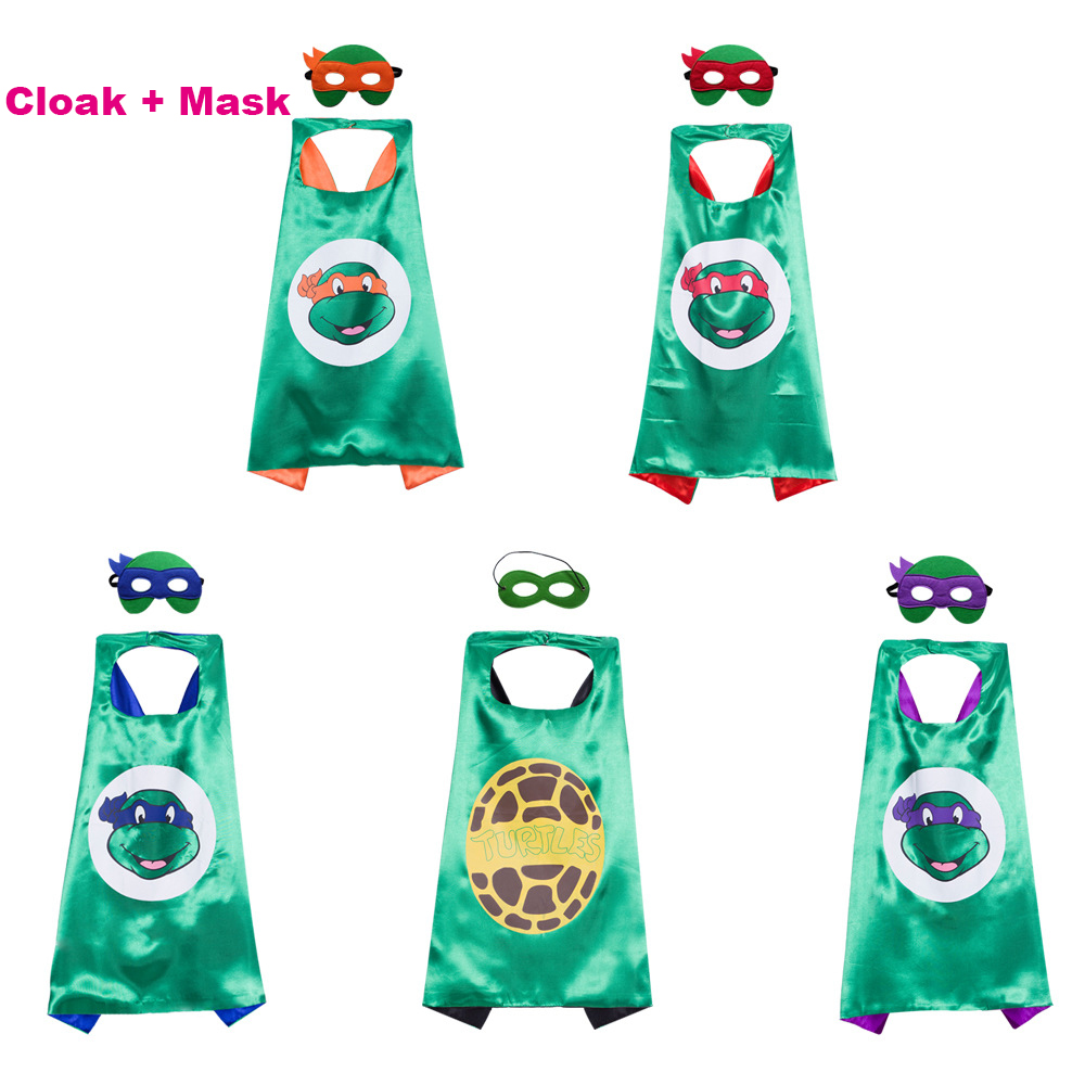 Children Teenage Mutant Ninja Turtles Mask Double Cloak Cosplay Costume Halloween Dress Party Party Birthday Gift