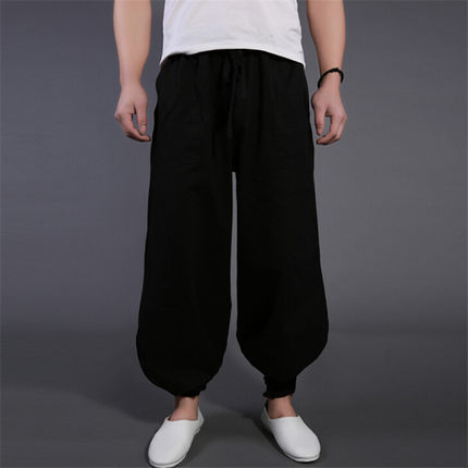 2017 Men's big yards Chinese style is pure color pants men continuous beam bloomers loose slacks male  The singer's clothing