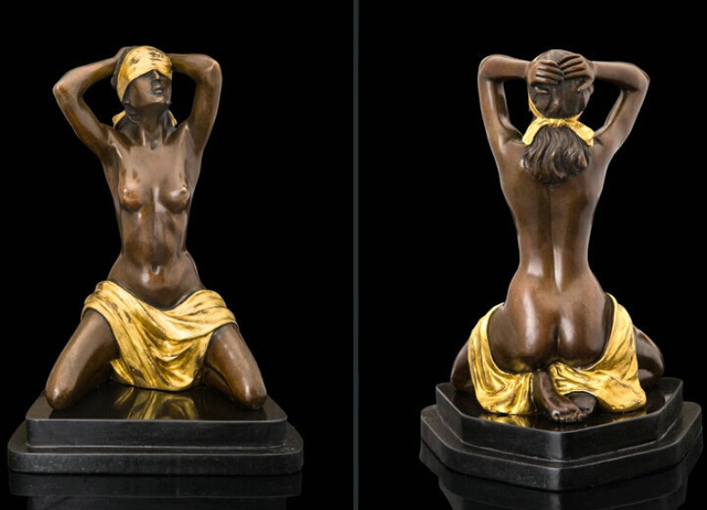 Bronze fountain nude girl with birds above