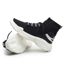 Outdoor sock Sneakers Men casual walking shoes fashion Breathable lightweight black and white sport lifestyle