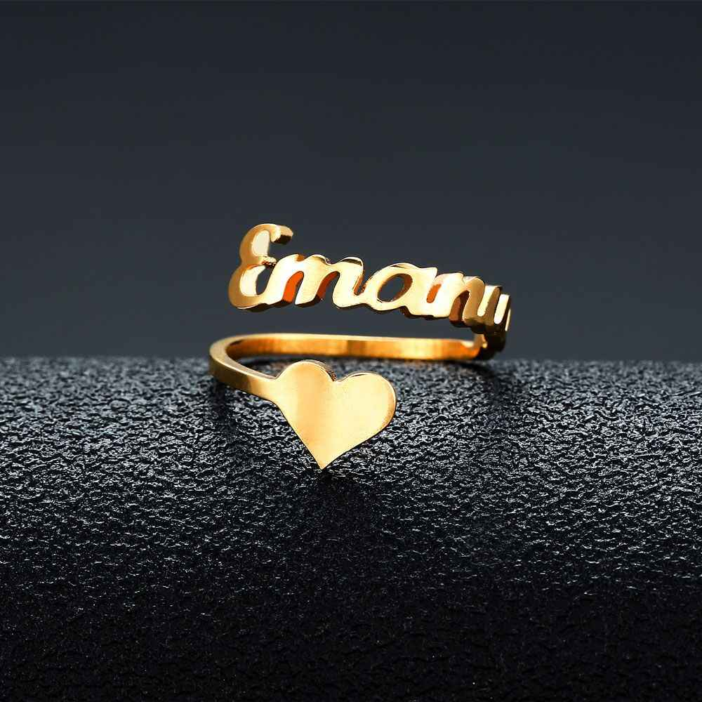 Personalized Custom Name Rings Rose Gold Color Date Numbers Heart Sprial Ring For Women High Quality Stainless Steel Jewelry