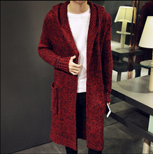 Autumn Winter Loose Long Mens Cardigans Knit Cardigan Sweaters Fashion Jumpers Mens Hooded Sueter Knit Cardigan Sweater