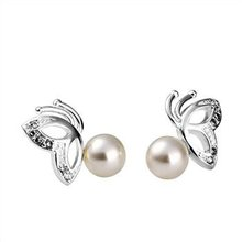 Free Delivery 925 Sterling Silver Earrings,White pearl butterfly earrings,925 Sterling Silver Earrings wholesale jewellery E173