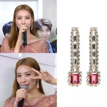 8f8022349fd5 MENGJIQIAO 2019 nuevo coreano de Moda de diamantes de imitación de cristal  cuadrado largo Pendientes de botón Pendientes Mujer Moda fiesta Bijoux de  lujo ...