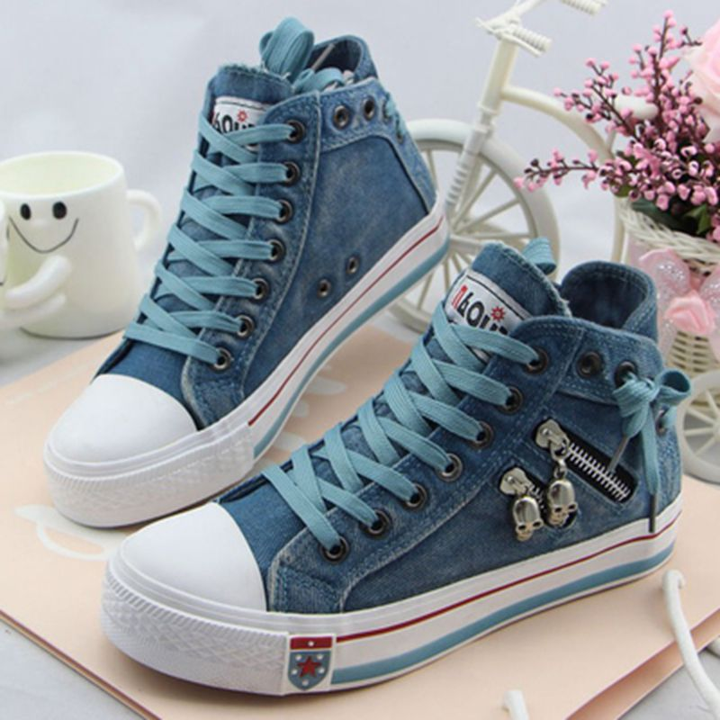 3ca11b021c38 Hot Sell Women s Fashion Casual Bule Denim Canvas Shoes Female Ladies Girls  Spring Autumn Lace Up Flats Platform Heels Shoes-in Women s Vulcanize Shoes  from ...