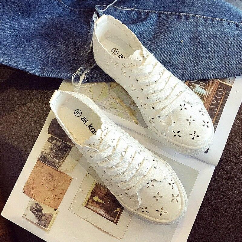 Woman White Shoes Summer Hollow Cut Out Air-permeable Net Shoes Sneakers Female Student's Korean Version Leisure Slacker Shoes