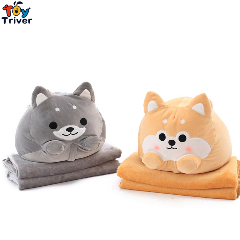 Plush Shiba Inu Pomeranian Dog Portable Blanket Cushion Pillow Toy Doll Baby Kids Shower Car Office Nap Carpet Gift Triver wholesale cute yellow dog plush toys shiba inu cloth doll winter hand warm soft pillow cushion birthday gift kids baby girl