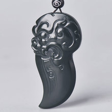 New Hand-Carved Jade Stone Dragon Tooth Pendant Natural Hetian Zodiac Lucky Necklace Men And Women Jewelry