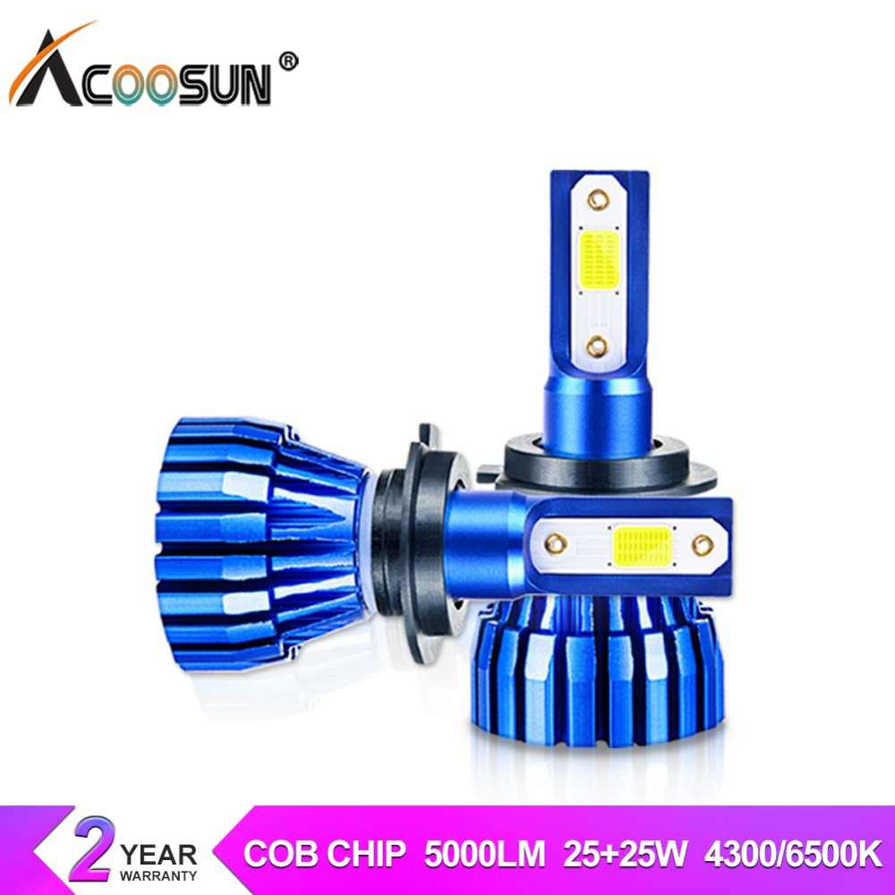 AcooSun Led H7 H4 LED Car Headlight luces led para auto bombillas 12V 24V 6500K H1 H3 9006 9005 9012 led para automovil Fanless