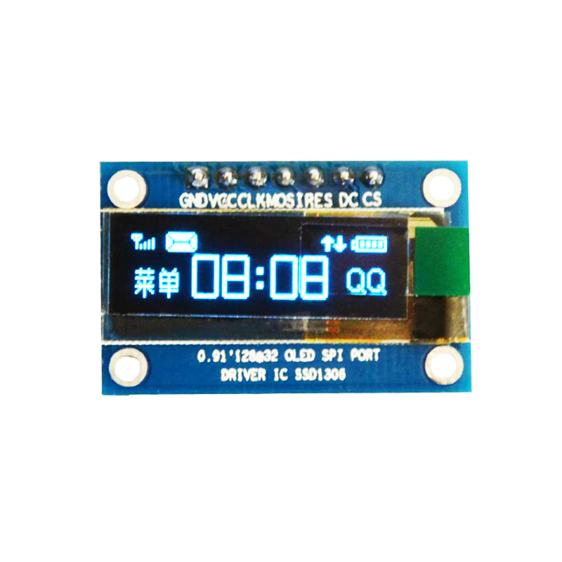 0.91 inch OLED module 0.91 Blue OLED 128X32 OLED LCD LED Display Module 0.91 SPI Communicate SSD1306 For Arduino STM32 51