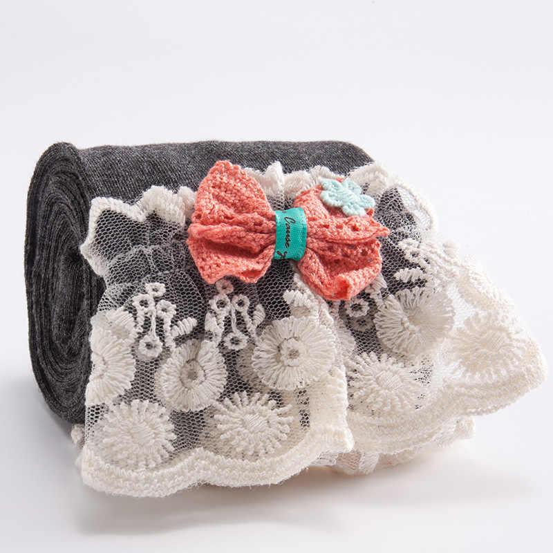 Wiosna jesień dzieci dziewczyny spodnie bawełniane koronka z motylkami księżniczka dzieci dziecko wygodne legginsy