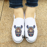 Wen White Black Slip On Sneakers Exquisite Colorful Totem Rhinoceros Original Design Male Female S Canvas