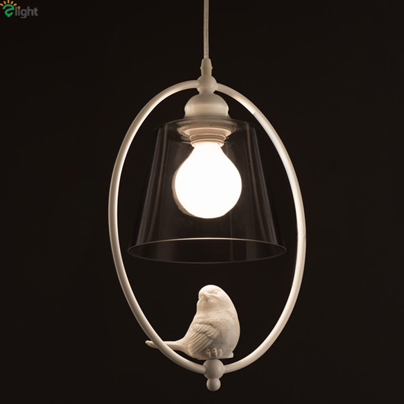 Nordic 3D Resin Bird E27 Led Pendant Chandelier Lighting Lustre Glass Metal Led Chandeliers Lamp Dining Room Led Hanging Lights цены