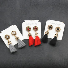 Women earrings Vintage Colorful Charm Long tassel Earrings Tassel earring for women New Arrivals Red Blue tassel earring E0187(China)