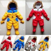 Snowsuit ребенка 2015 новый зимний младенческая парни тепловой комбинезон с капюшоном лоскутное малыша Snowsuit девушки пуховик утолщаются комбинезон