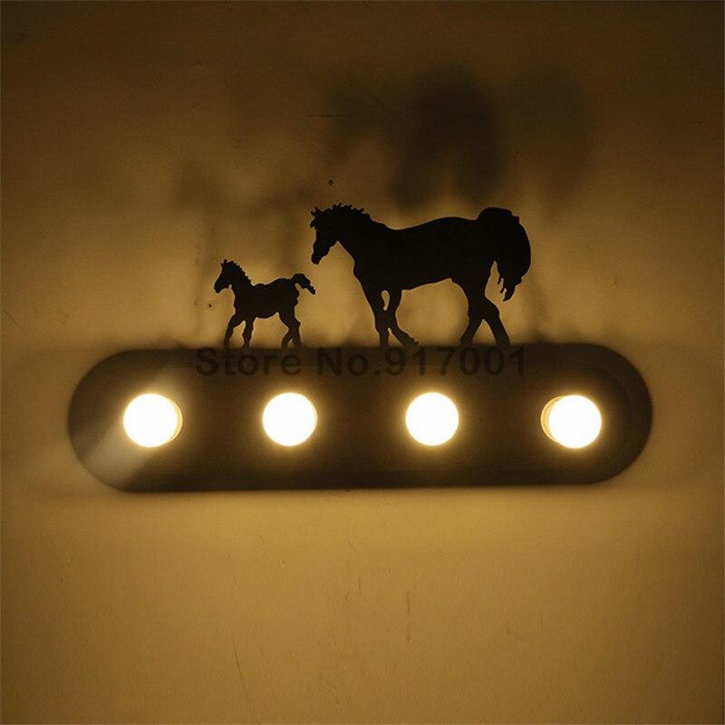 Американский стиль Лофт Промышленные металлические СВЕТОДИОДНЫЙ настенная лампа для ресторанов и спален пони олень Санта Клаус ветряная м... - 4