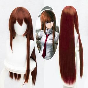 Аниме Steins Gate Makise Kurisu, Кристина, ассистент, обёрн, прямой, 100 см/1 м, Длинные прямые синтетические волосы, карнавальный парик + париковая Кепка
