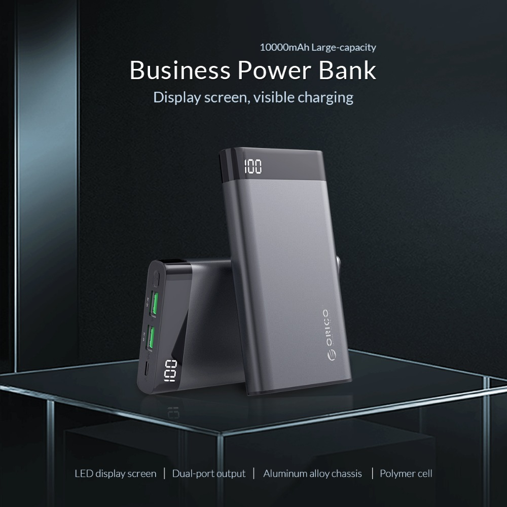 ORICO 10000mAh Power Bank Dual USB 5V2A with Display Screen Poverbank Portable External Battery Pack For