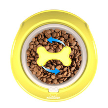 ФОТО flowgogo fun bone shaped slow feeder dog food bowls water bowl dishes for puppy small large dog pet feeding (s-400ml yellow)