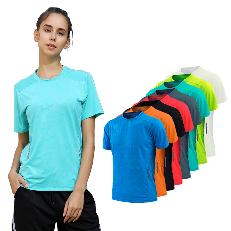 Yoga Running Tee Women Quick Dry Fitness Training Top Sports Mesh Print Short Sleeves Loose Outdoor T Shirt Women O Neck Workout button embellished retro print notch neck tee