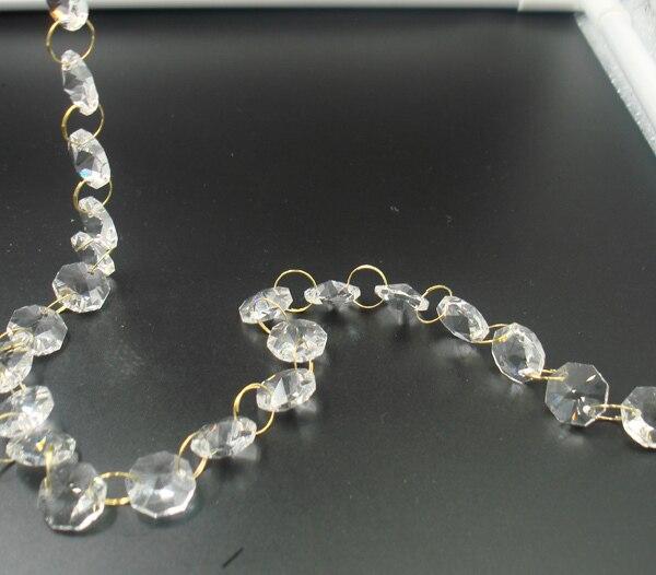 20 metrů / lot 14mm hot výprodej zlatý prsten křišťálový věnec řetězy skleněné věnce řetězy lustr lampa osmiúhelník řetězy plevel dekorace