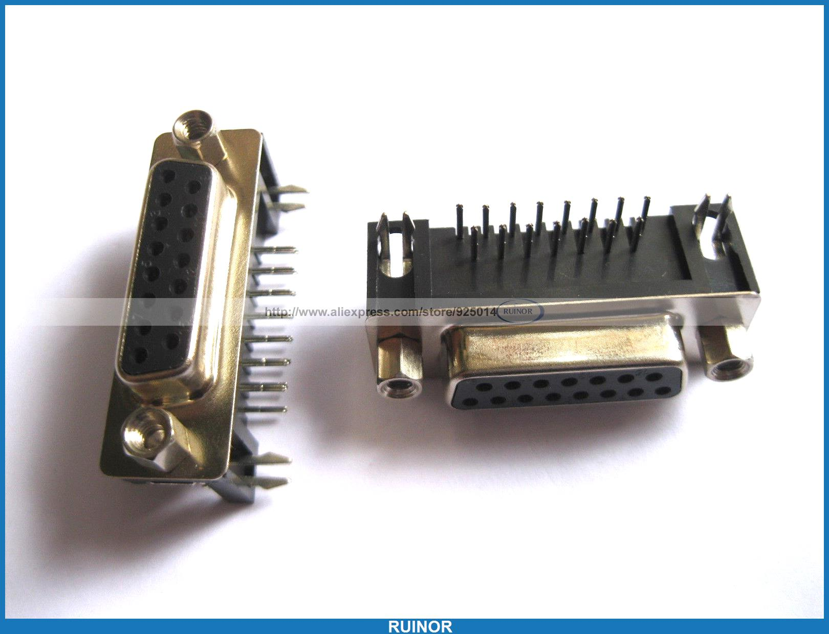 50 Pcs D Sub 15 Pin Female Connector Right Angle 2 Rows 30 pcs d sub 9 pin male connector with right angle