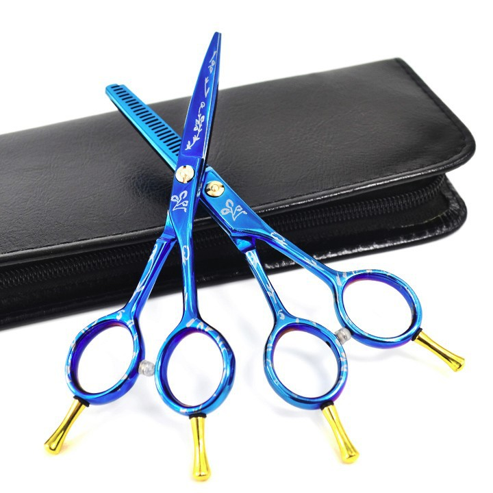 hair scissors et blue flower
